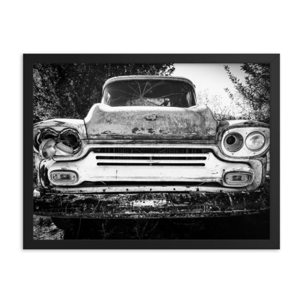 Old Rusty Classic Retro Auto. Framed Photo Poster