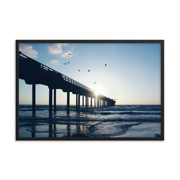 Pier on the Sea. Framed Photo Poster