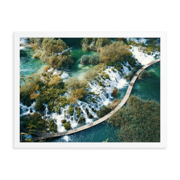 River Waterfall. View from above. Framed Photo Poster