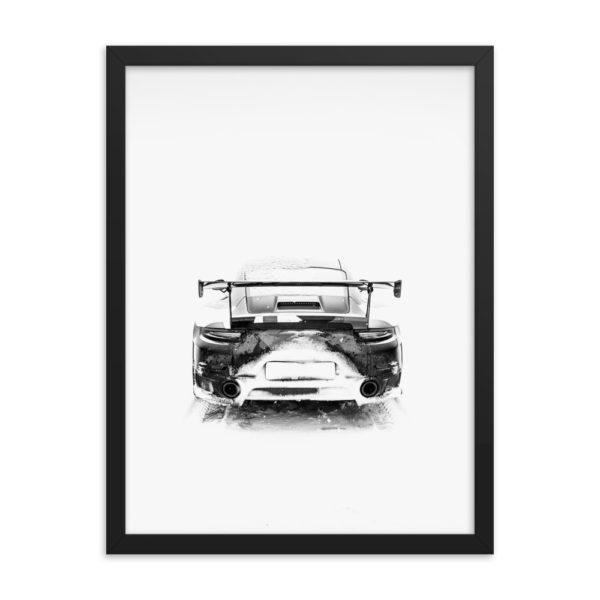 Sport Car at Winter. Back side. Framed Photo Poster