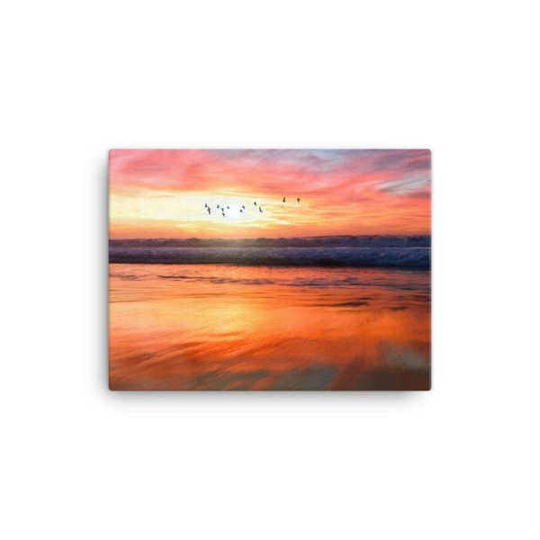 Sunset over Sea Photo Print Canvas