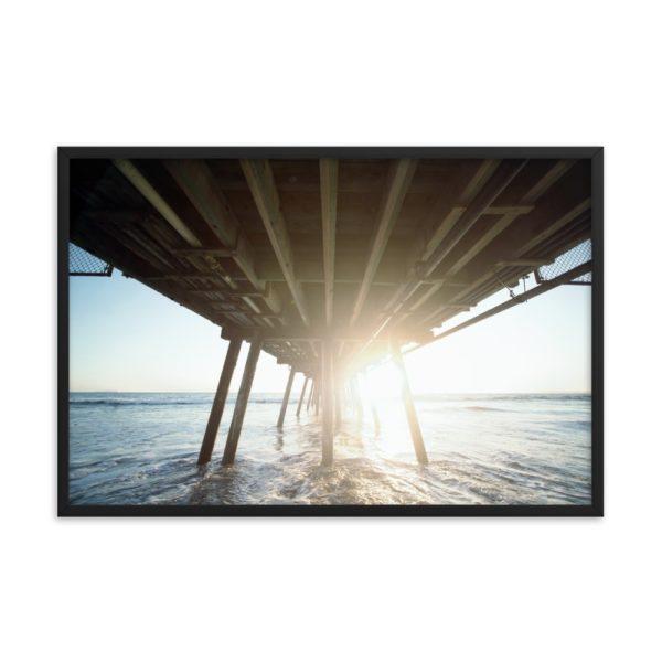 Under Bridge at Sunrise on the Ocean  Framed Photo Poster