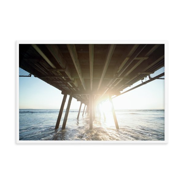 Under Bridge at Sunrise on the Ocean  Framed Photo Poster
